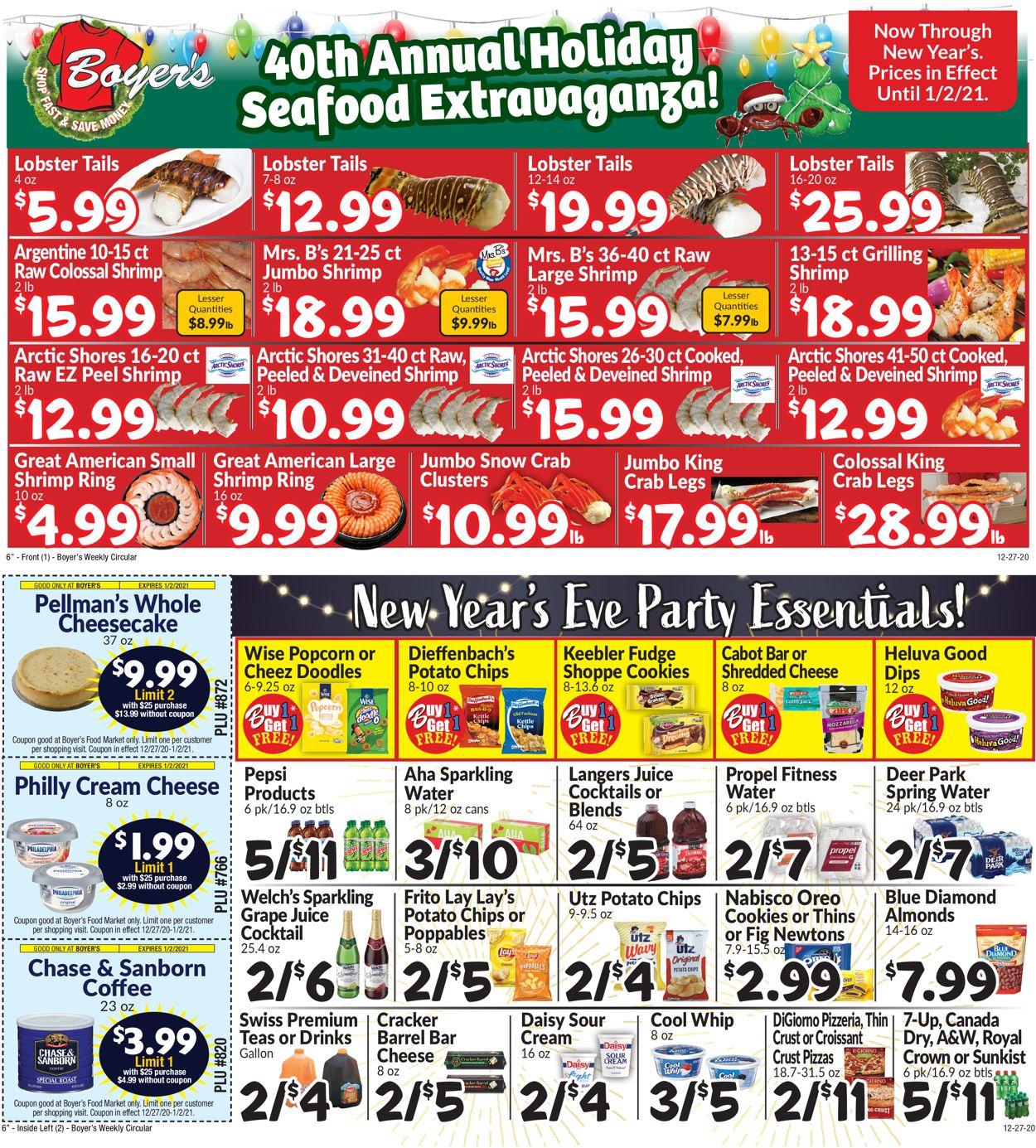 Boyer's Food Markets Weekly Ad Circular - valid 12/27-01/02/2021