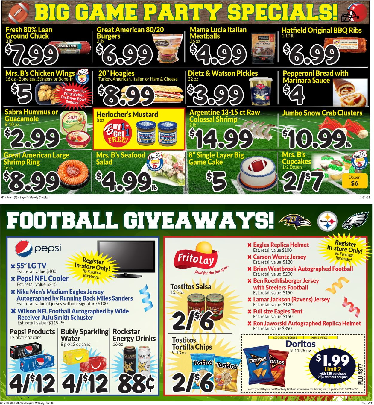 Boyer's Food Markets Game Day 2021 Weekly Ad Circular - valid 01/31-02/06/2021