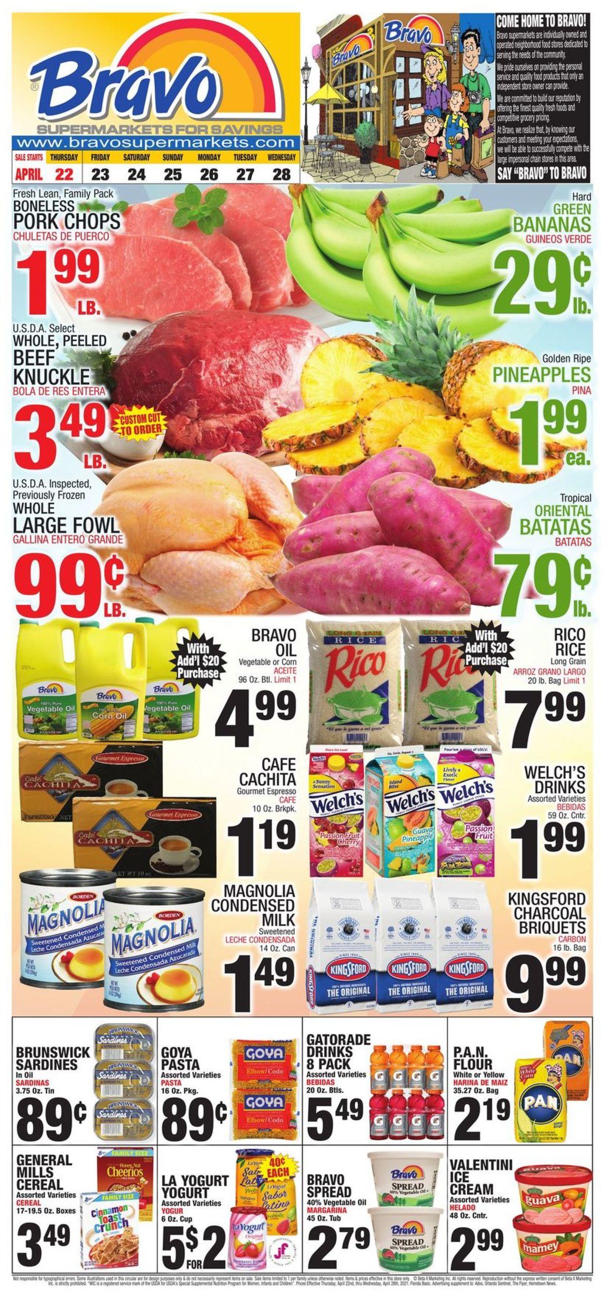 Bravo Supermarkets Weekly Ad Circular - valid 04/22-04/28/2021