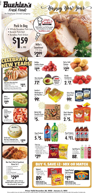 Buehler's Fresh Foods Weekly Ad Circular - valid 12/30-01/05/2021