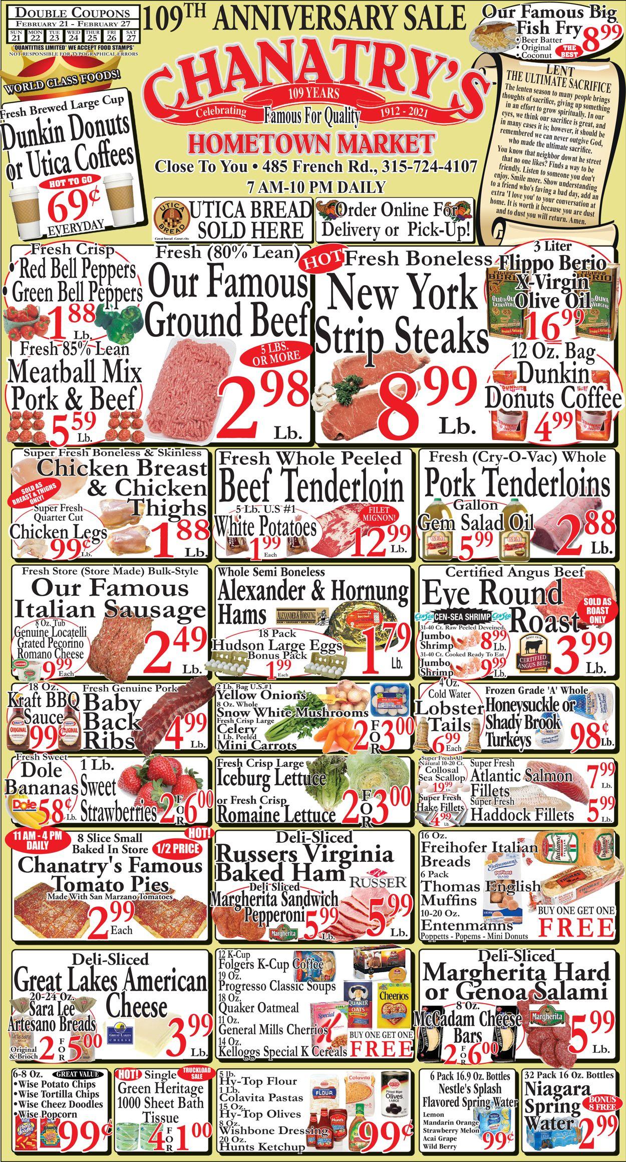 Chanatry's Hometown Market Weekly Ad Circular - valid 02/21-02/27/2021