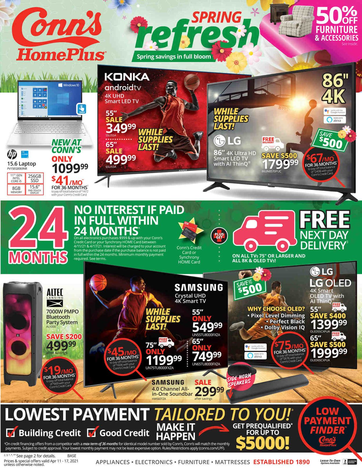 Conn's Home Plus Weekly Ad Circular - valid 04/11-04/17/2021