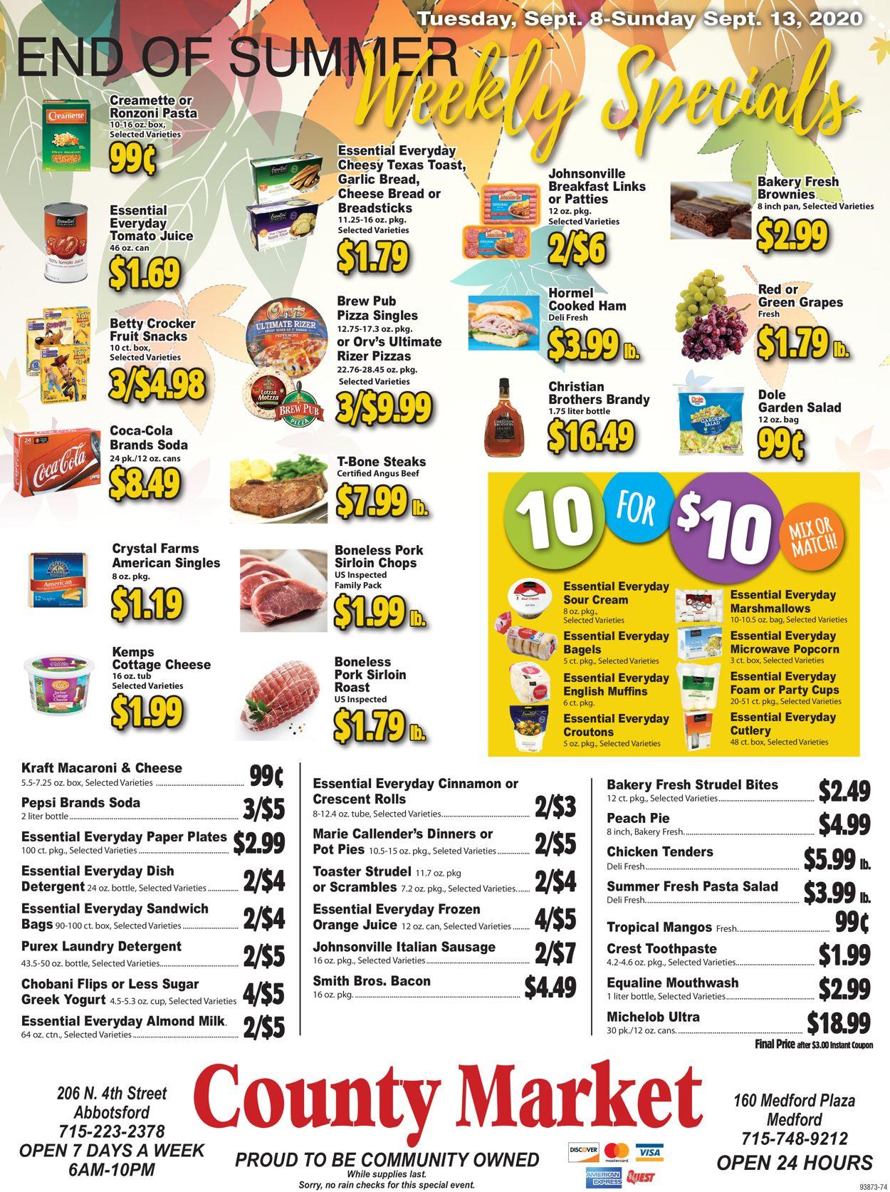 County Market Weekly Ad Circular - valid 09/08-09/13/2020