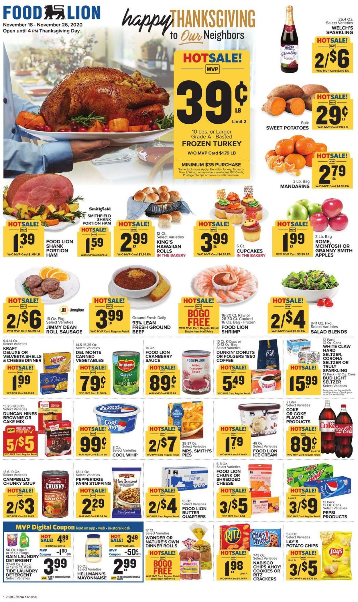 Food Lion Thanksgiving 2020 Weekly Ad Circular - valid 11/18-11/26/2020