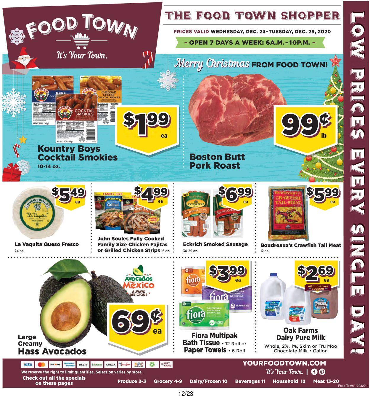 Food Town Christmas 2020 Weekly Ad Circular - valid 12/23-12/29/2020