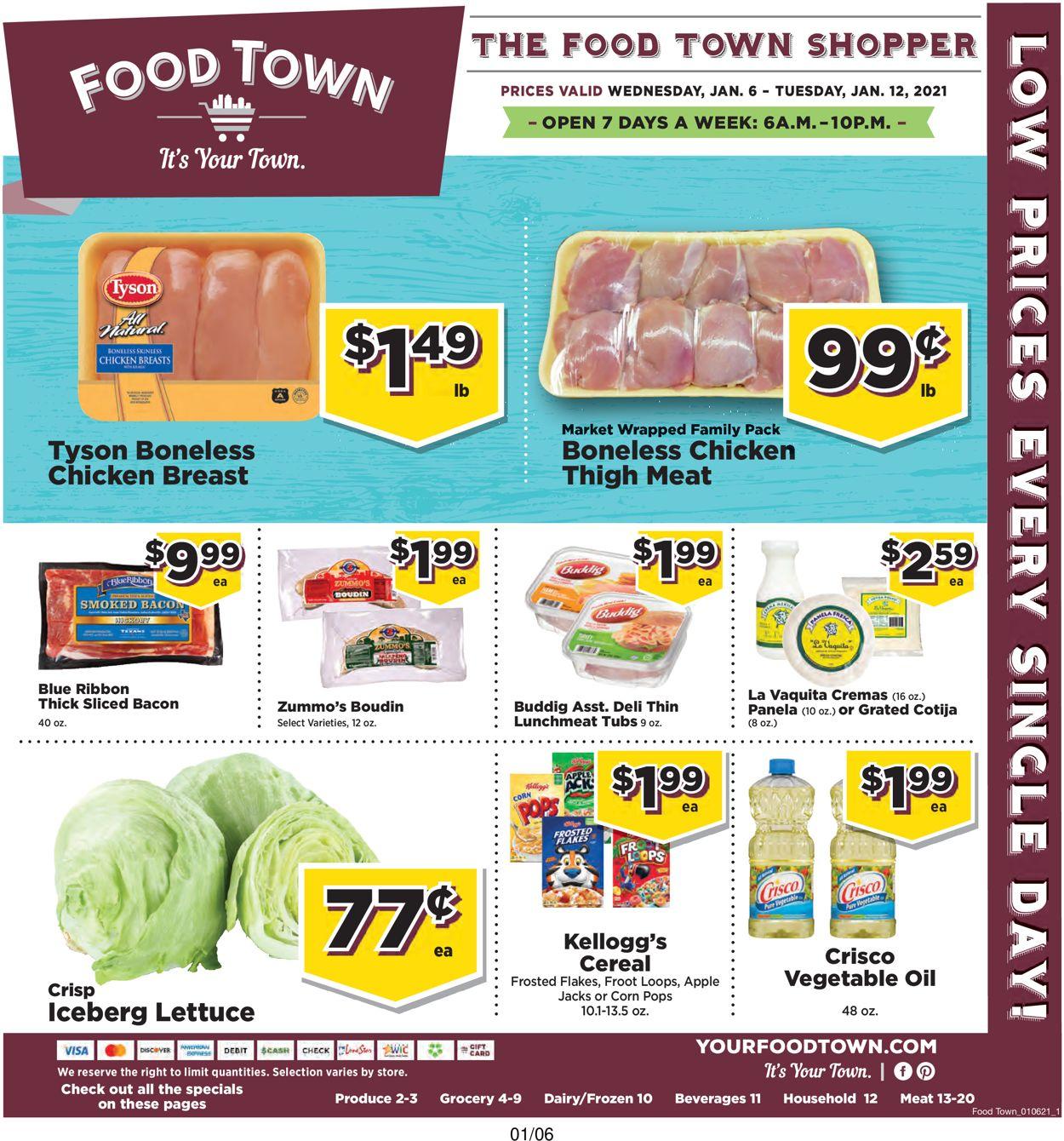 Food Town Weekly Ad Circular - valid 01/06-01/12/2020