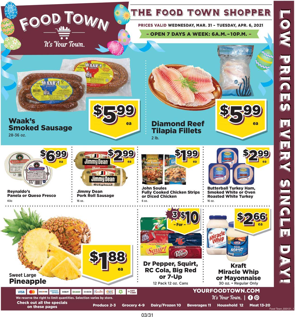 Food Town Easter 2021 Weekly Ad Circular - valid 03/31-04/06/2021