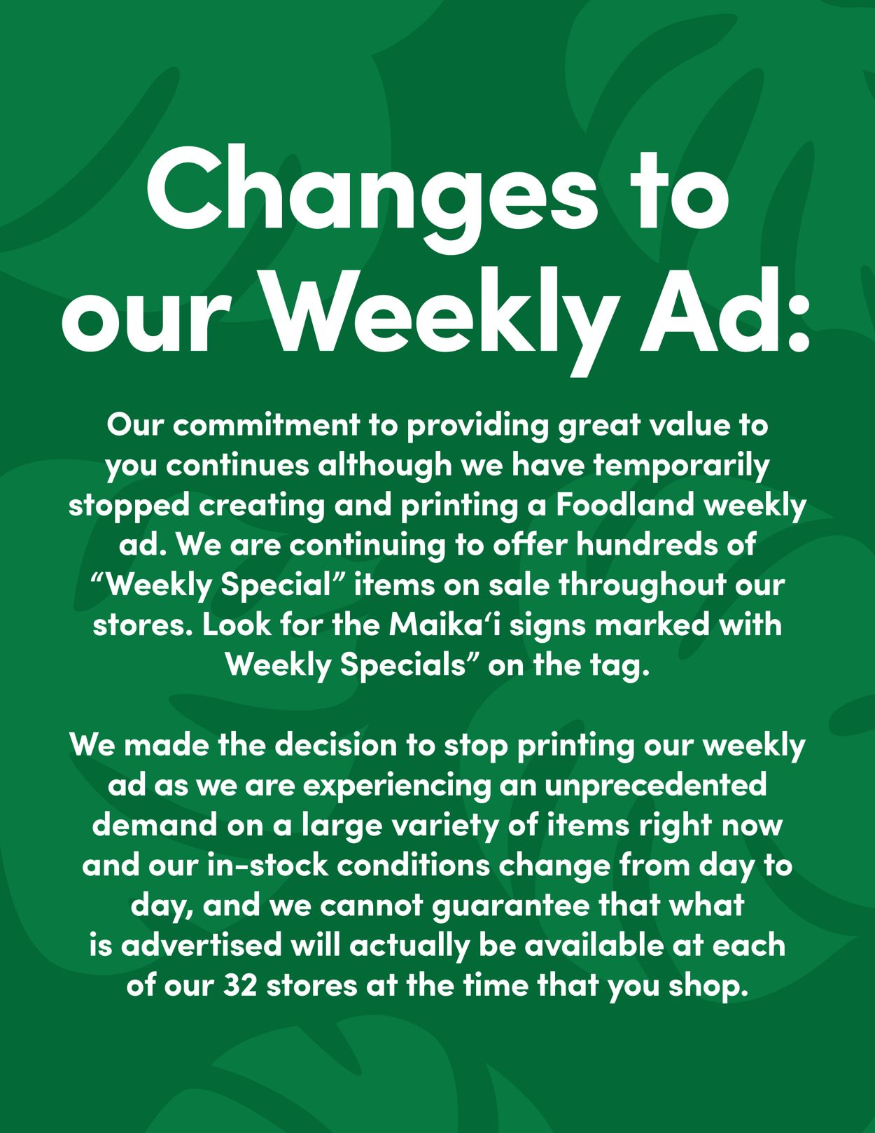 Foodland Weekly Ad Circular - valid 03/25-04/28/2020