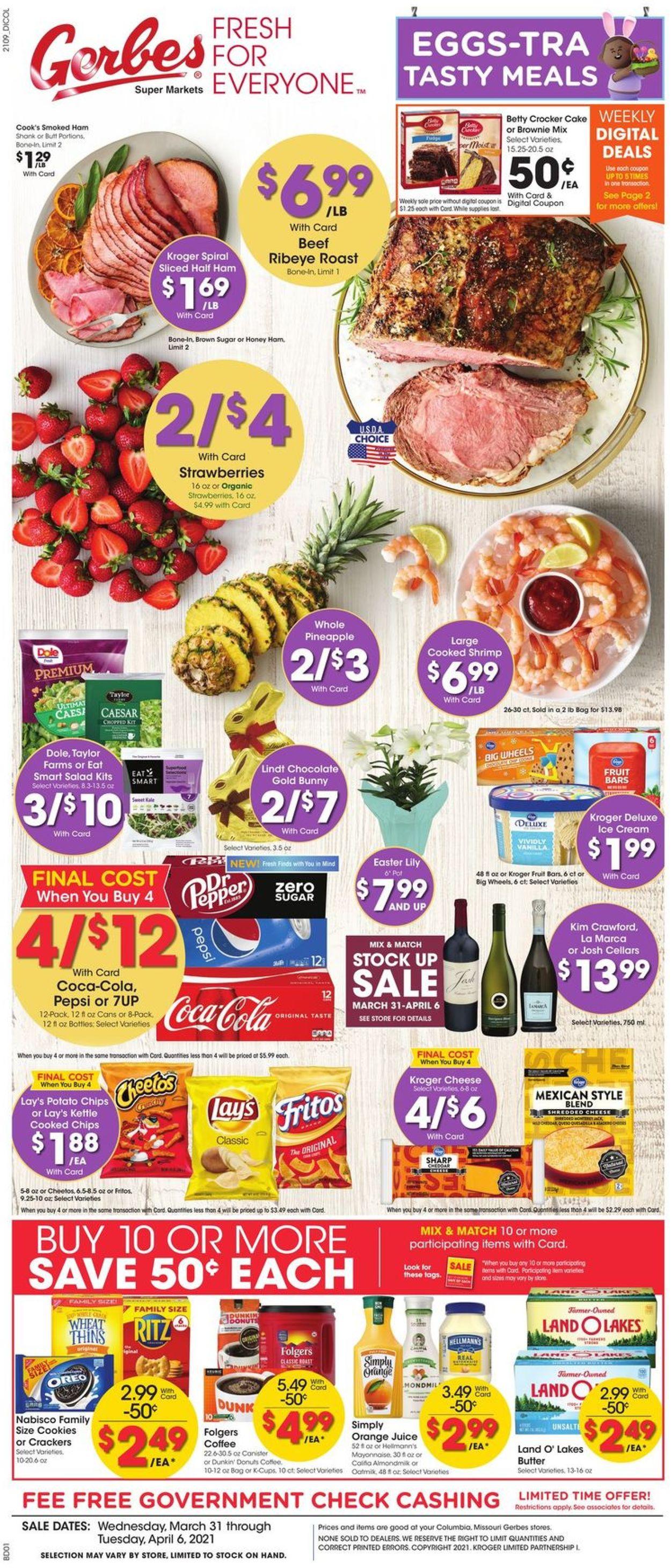 Gerbes Super Markets - Easter 2021 ad Weekly Ad Circular - valid 03/31-04/06/2021