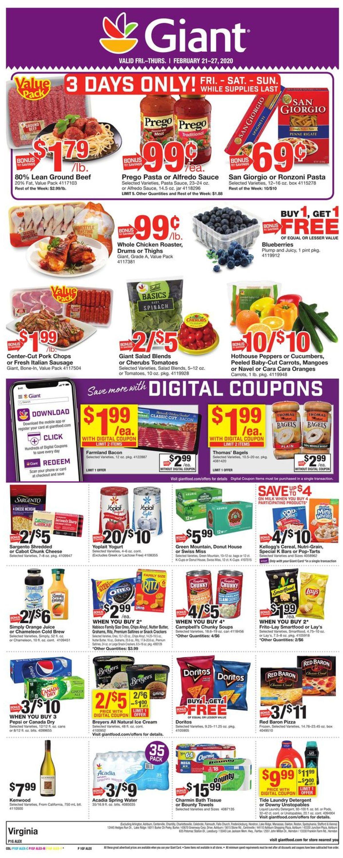 Giant Food Weekly Ad Circular - valid 02/21-02/27/2020