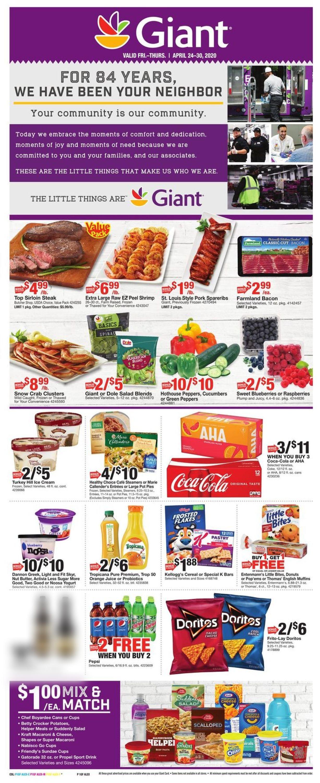 Giant Food Weekly Ad Circular - valid 04/24-04/30/2020