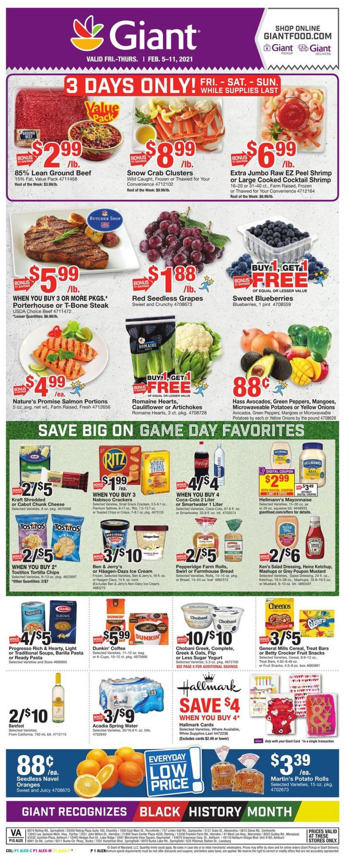 Giant Food Weekly Ad Circular - valid 02/05-02/11/2021