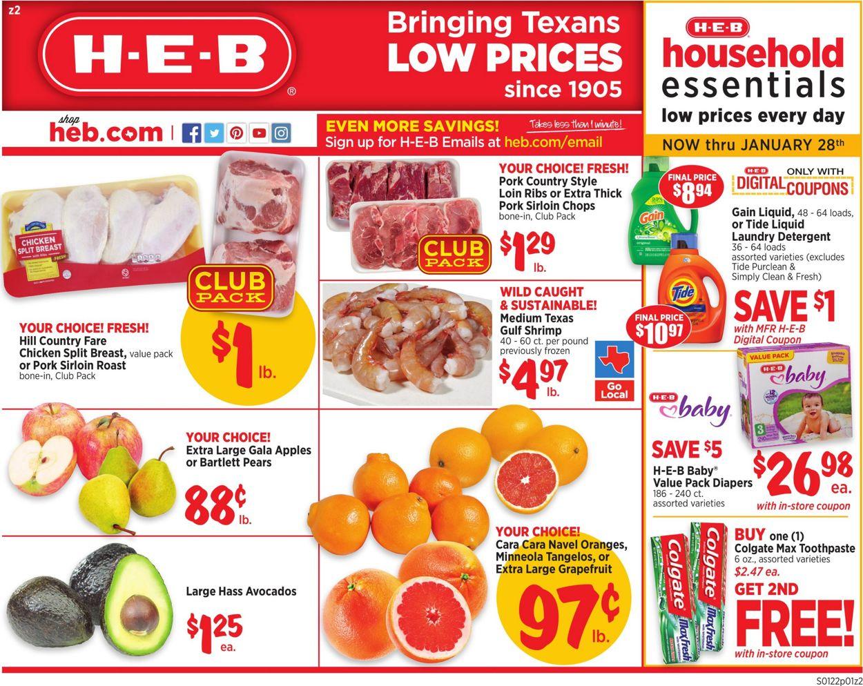 H-E-B Weekly Ad Circular - valid 01/22-01/28/2020