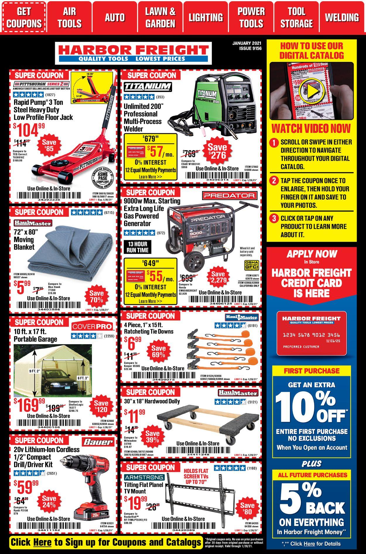 Harbor Freight January 2021 Main Catalog Weekly Ad Circular - valid 01/04-01/28/2021