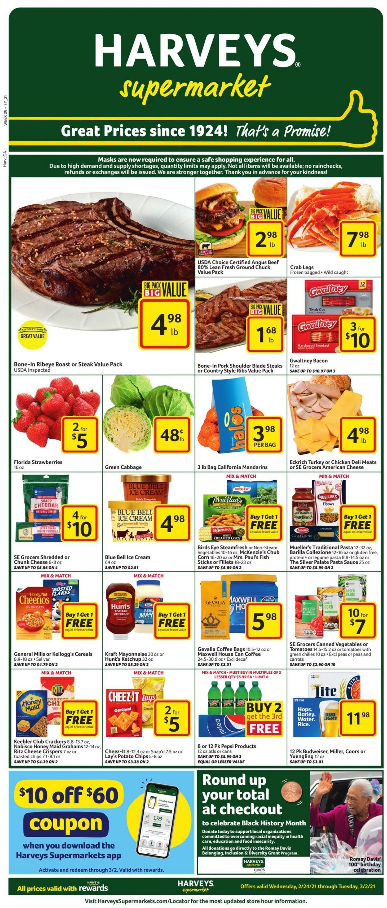 Harveys Supermarket Weekly Ad Circular - valid 02/24-03/02/2021