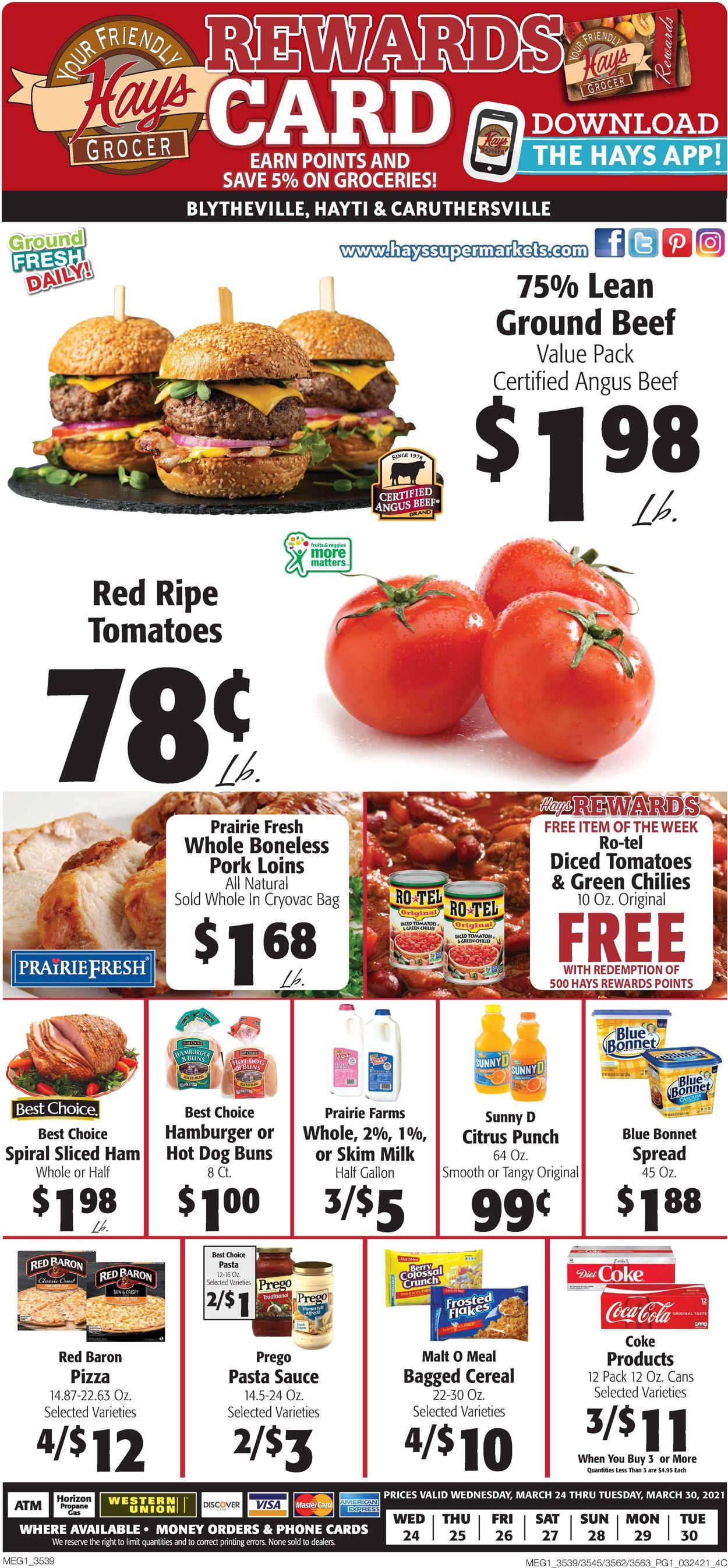 Hays Supermarket Weekly Ad Circular - valid 03/24-03/30/2021