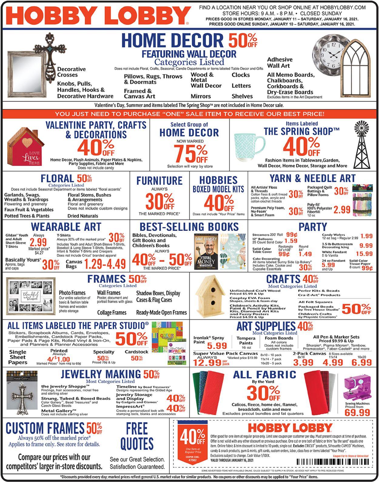 Hobby Lobby Weekly Ad Circular - valid 01/11-01/16/2021