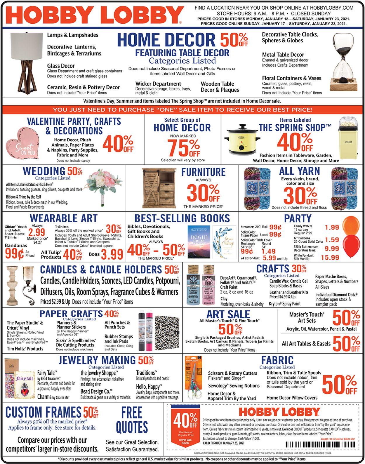 Hobby Lobby Weekly Ad Circular - valid 01/18-01/23/2021