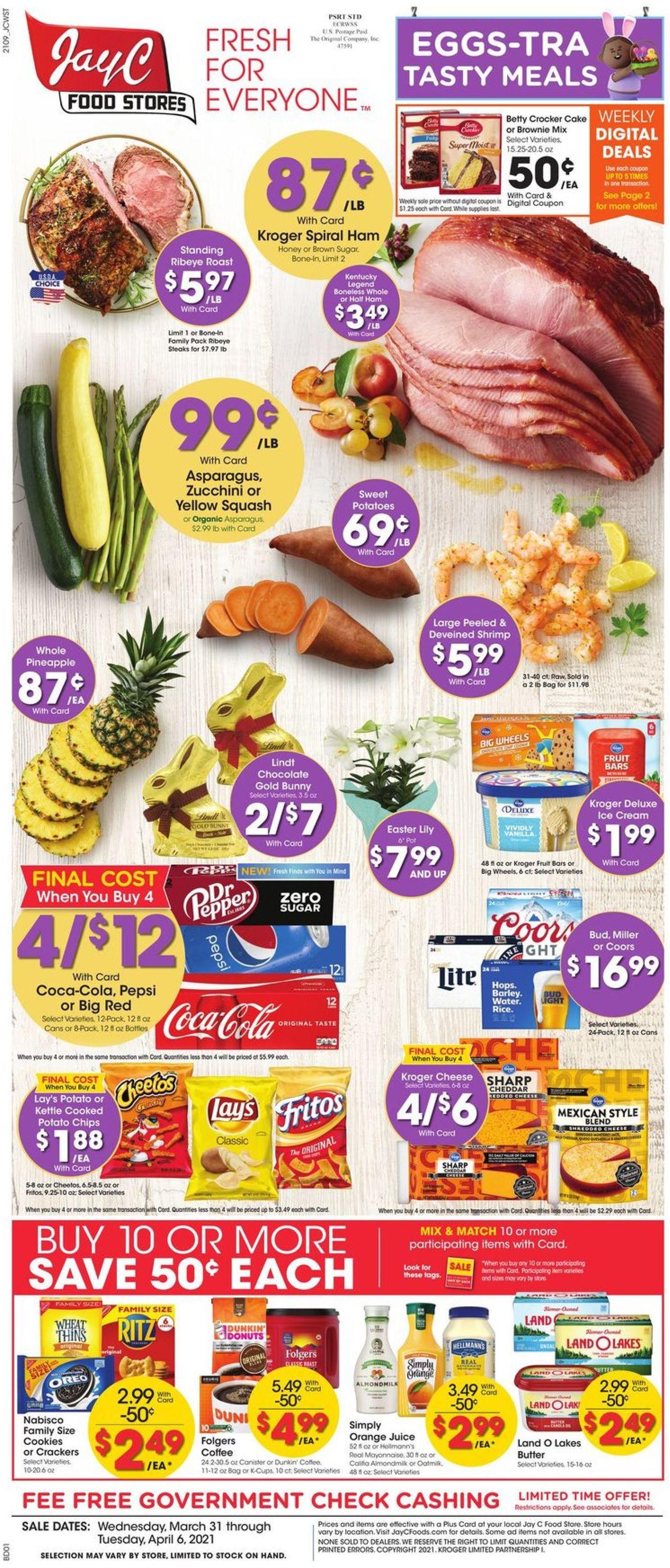 Jay C Food Stores - Easter 2021 Weekly Ad Circular - valid 03/31-04/06/2021