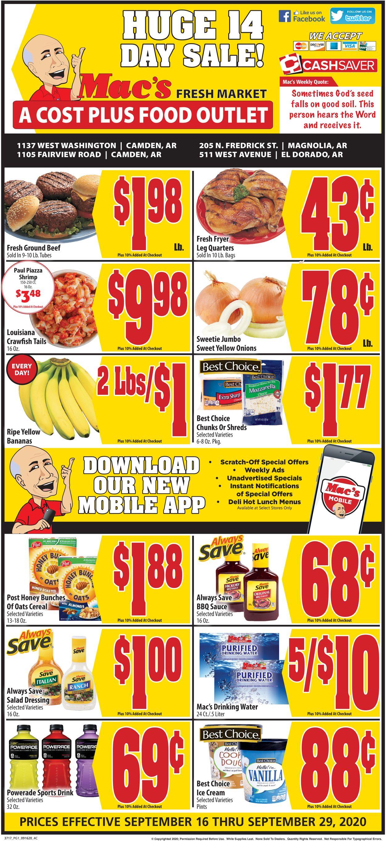 Mac's Freshmarket Weekly Ad Circular - valid 09/16-09/29/2020