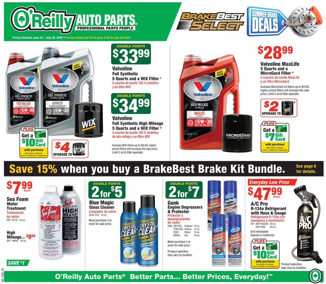 O'Reilly Auto Parts Weekly Ad Circular - valid 06/24-07/28/2020