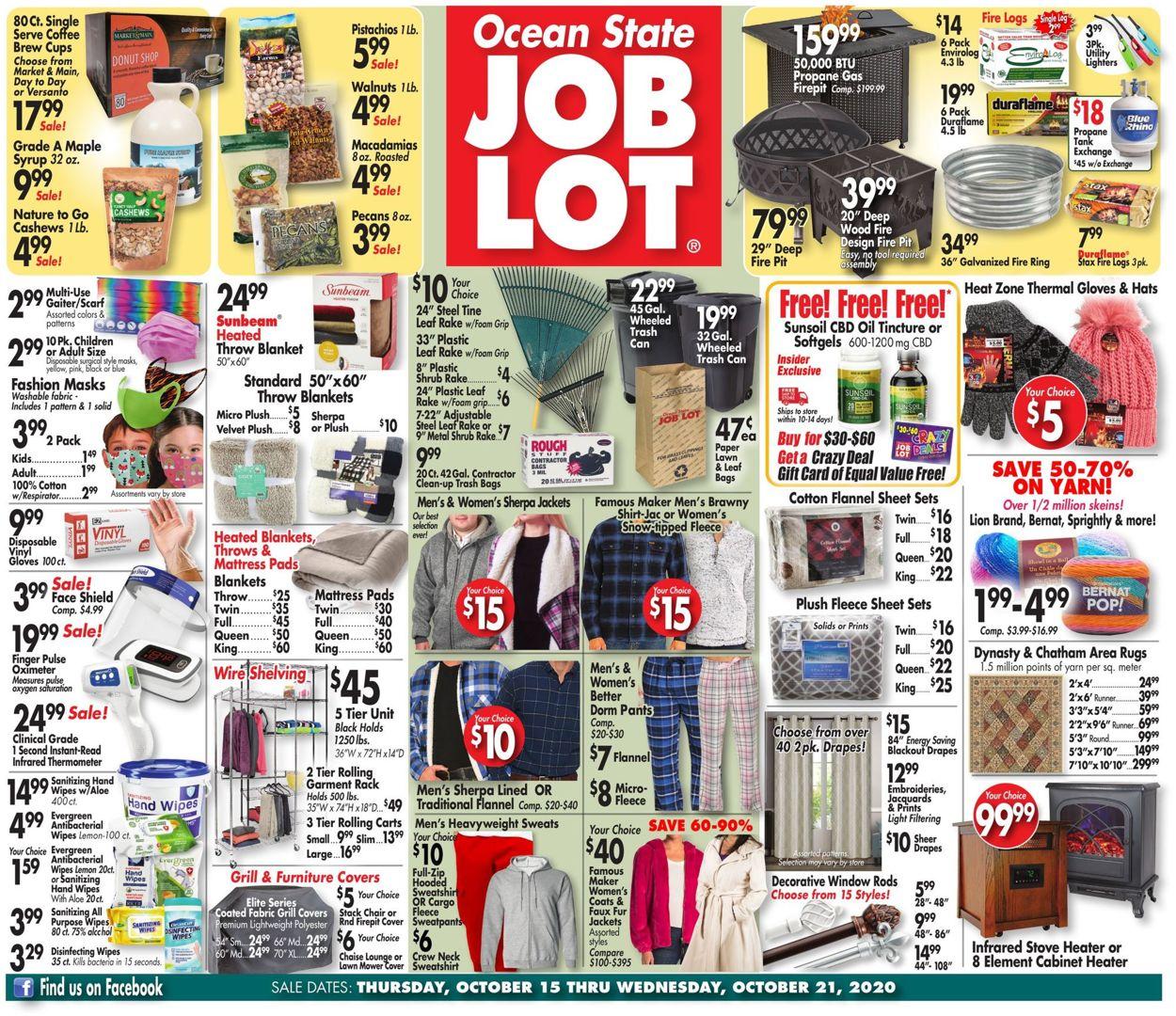Ocean State Job Lot Weekly Ad Circular - valid 10/15-10/21/2020