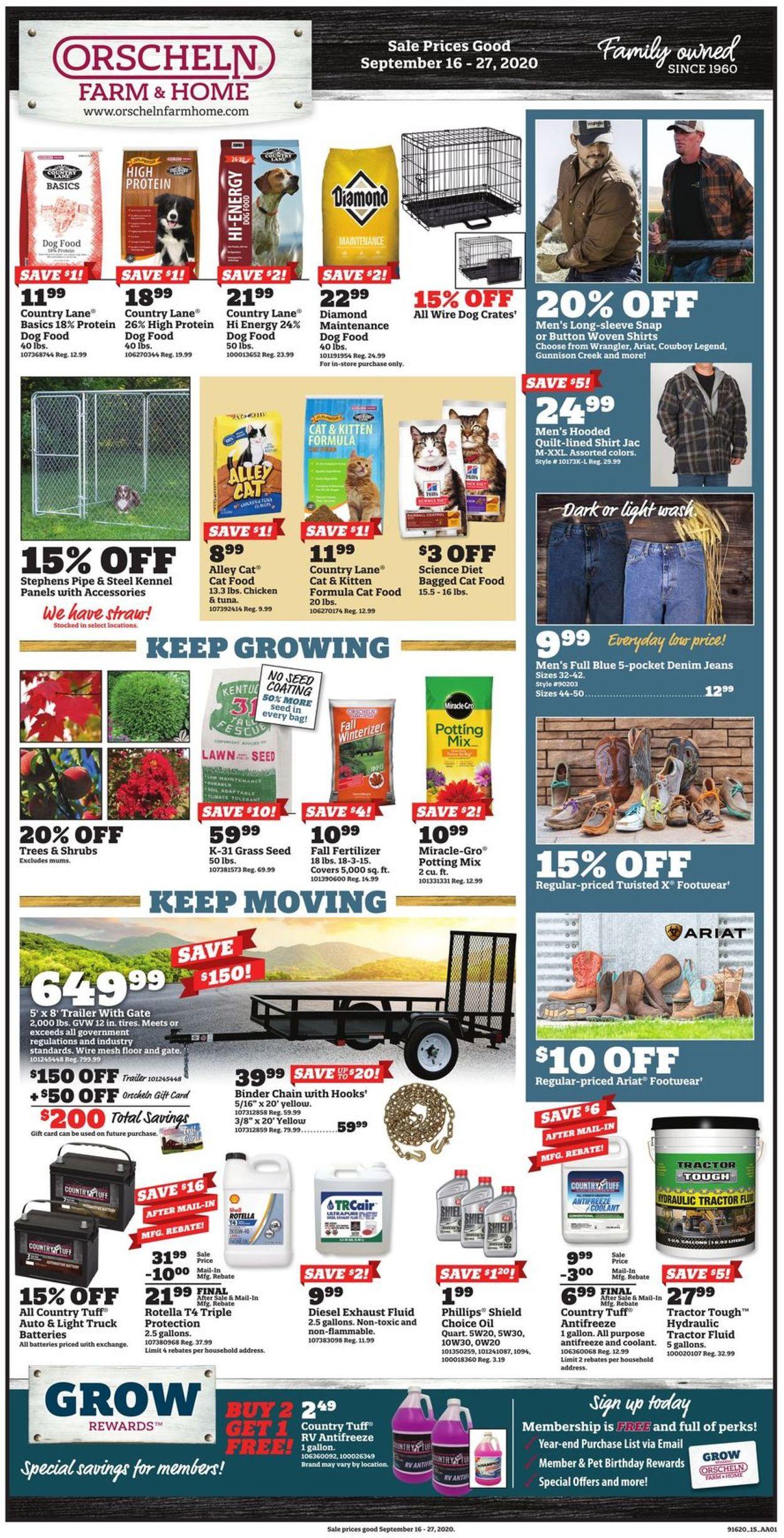 Orscheln Farm and Home Weekly Ad Circular - valid 09/16-09/27/2020