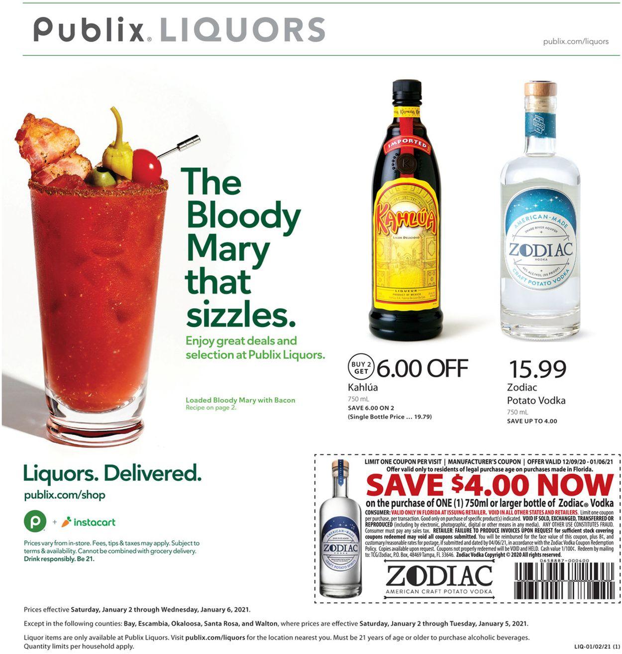 Publix Liquor 2021 Weekly Ad Circular - valid 01/02-01/05/2021