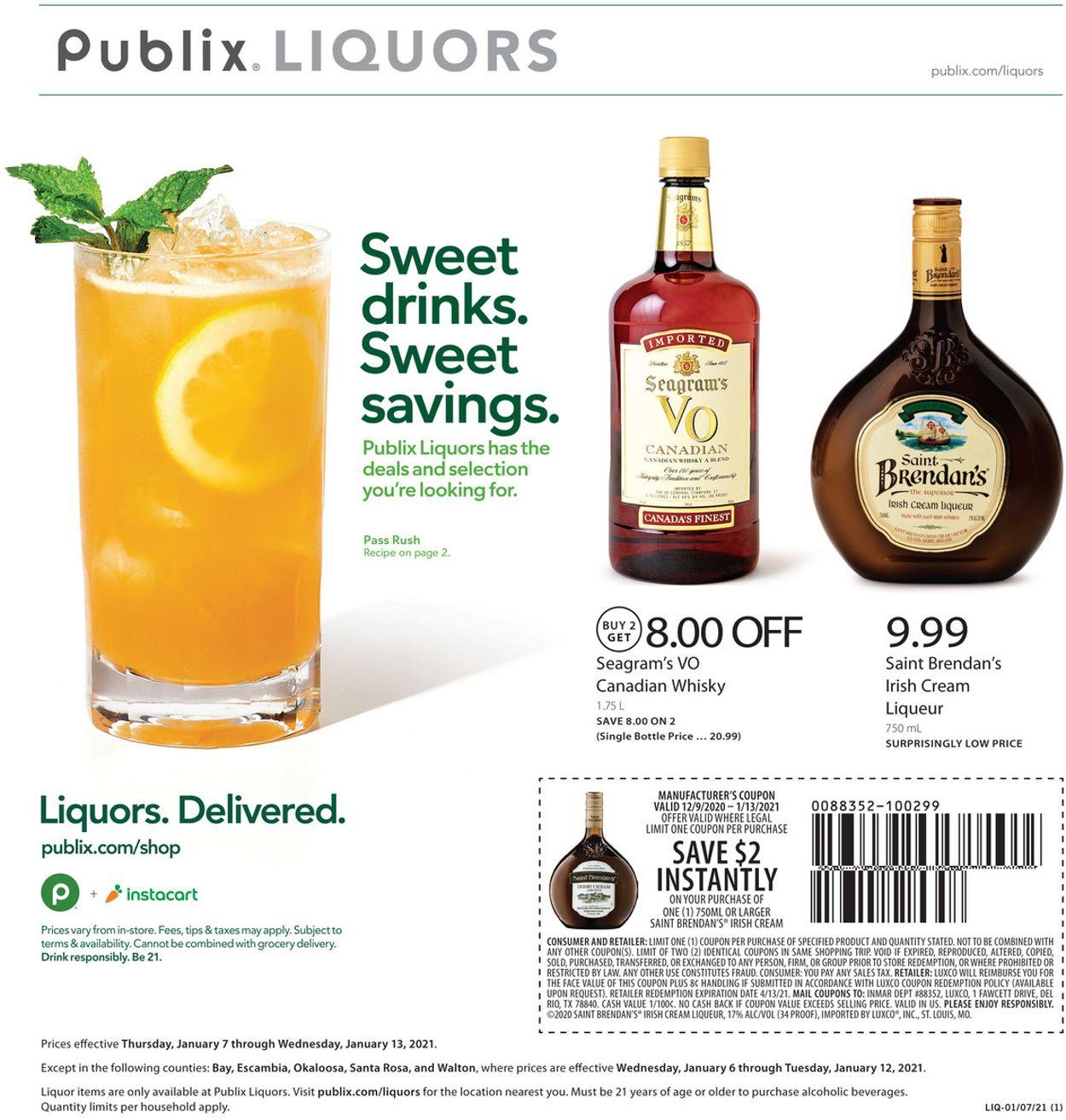 Publix Liquor 2021 Weekly Ad Circular - valid 01/07-01/13/2021