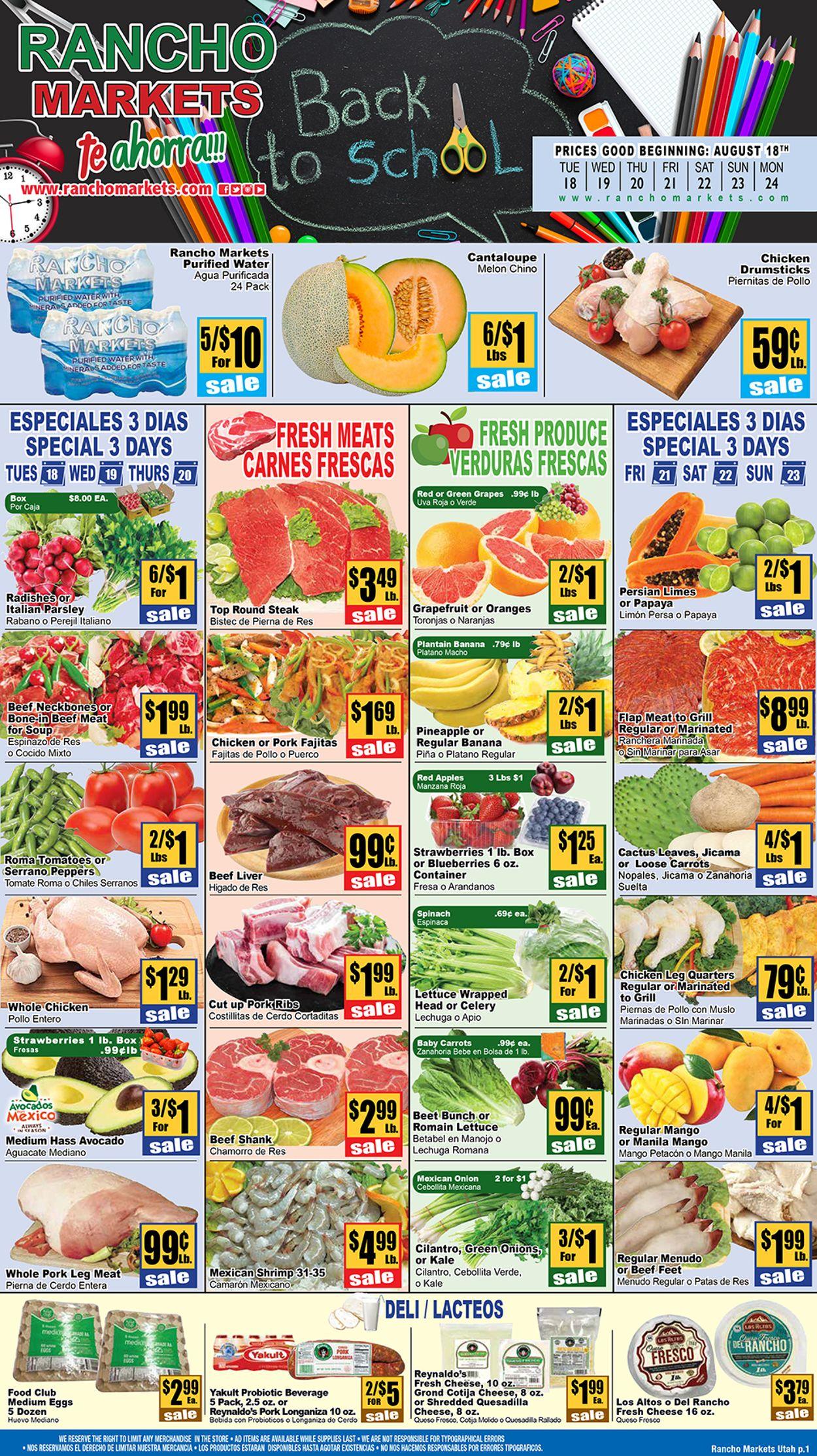 Rancho Markets Weekly Ad Circular - valid 08/18-08/24/2020