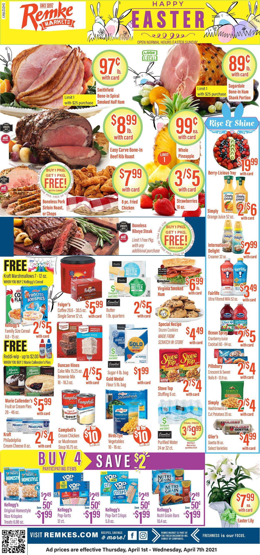 Remke Markets - Easter 2021 Weekly Ad Circular - valid 04/01-04/07/2021