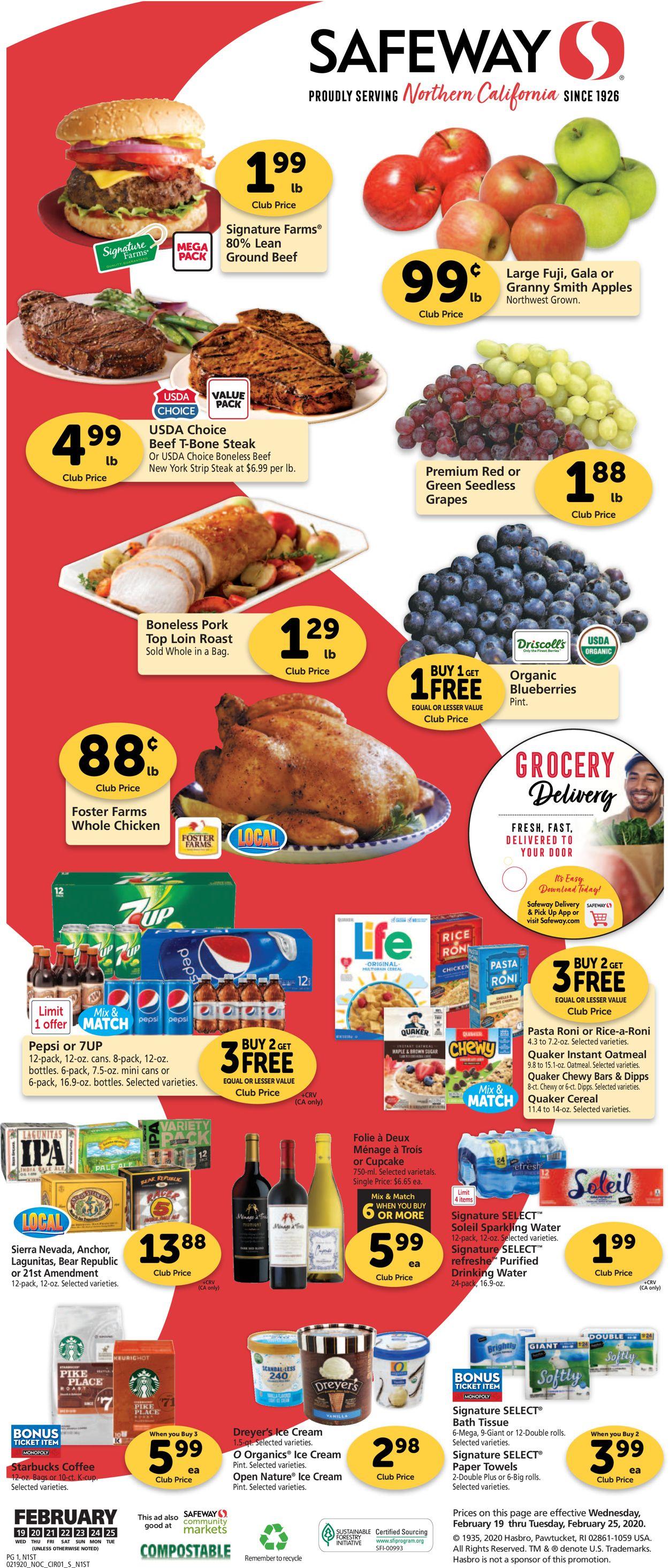 Safeway Weekly Ad Circular - valid 02/19-02/25/2020