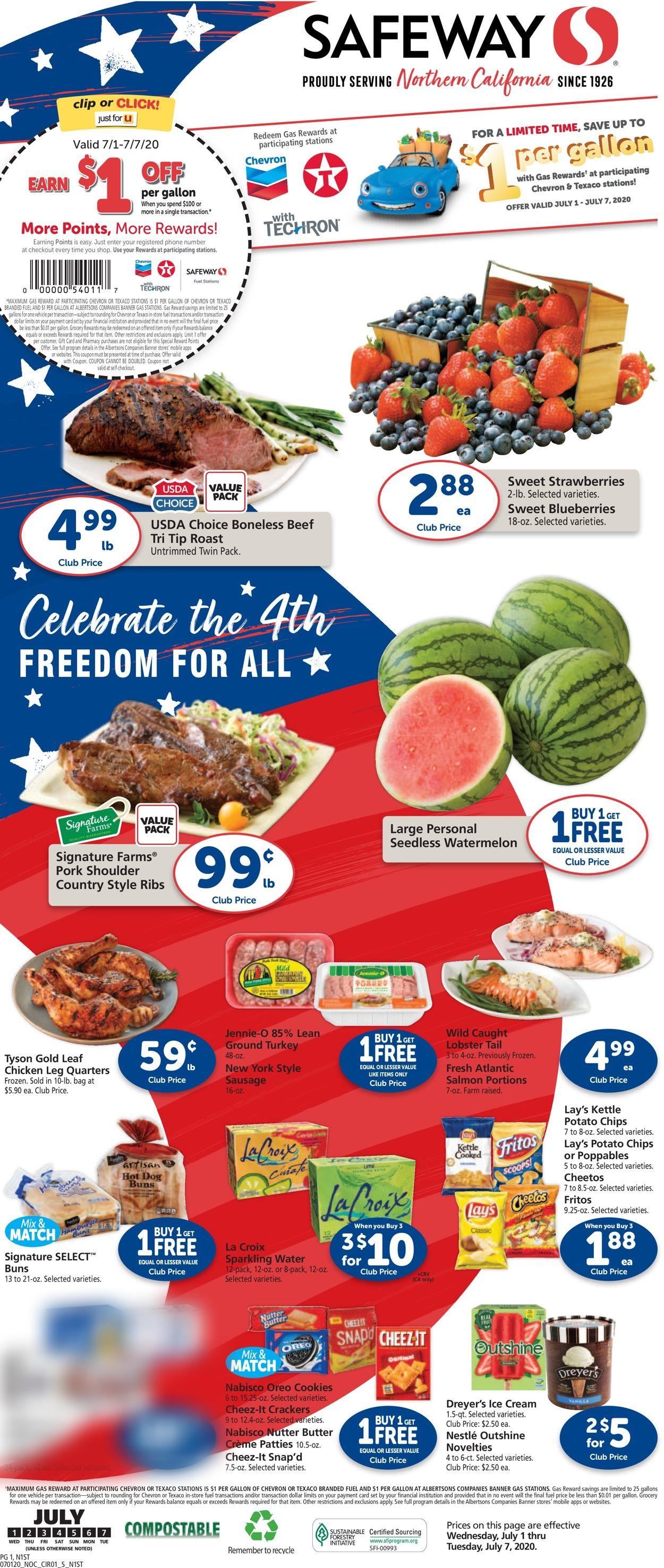 Safeway Weekly Ad Circular - valid 07/01-07/07/2020