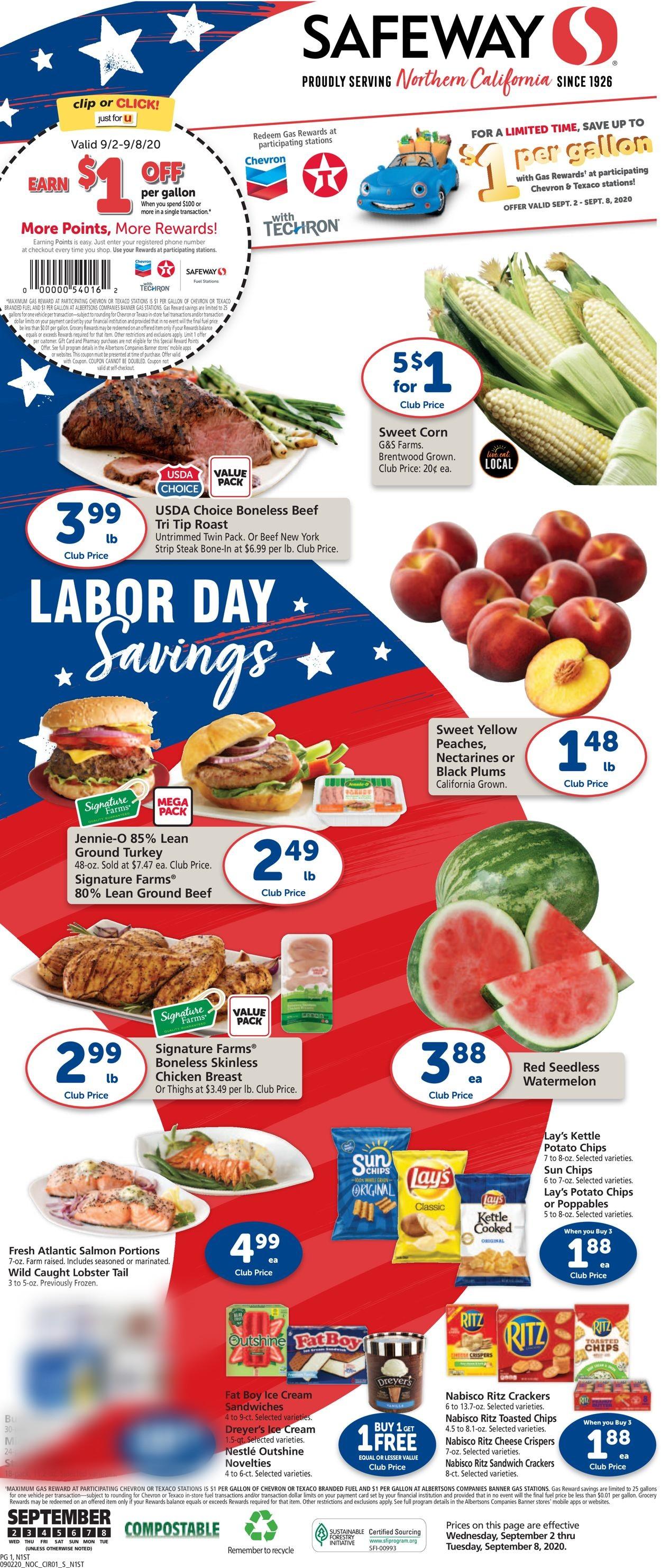 Safeway Weekly Ad Circular - valid 09/02-09/08/2020