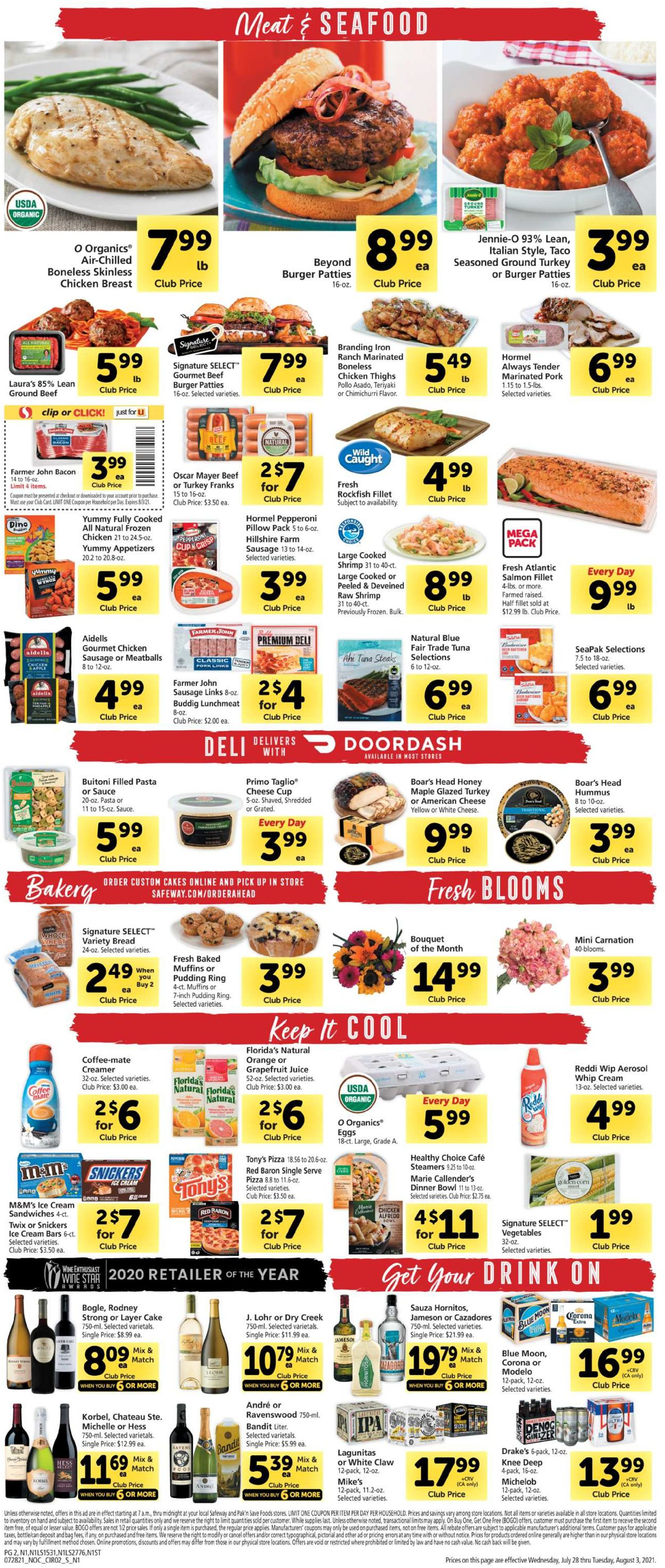 Safeway Weekly Ad Circular - valid 07/28-08/03/2021 (Page 2)