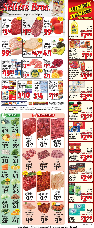 Sellers Bros. Weekly Ad Circular - valid 01/06-01/12/2021