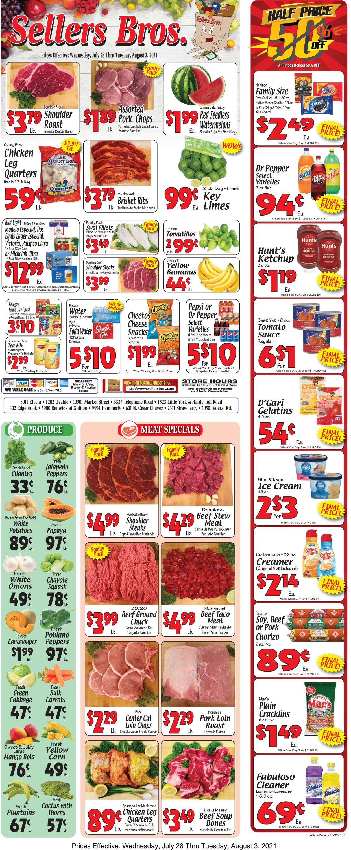 Sellers Bros. Weekly Ad Circular - valid 07/28-08/03/2021