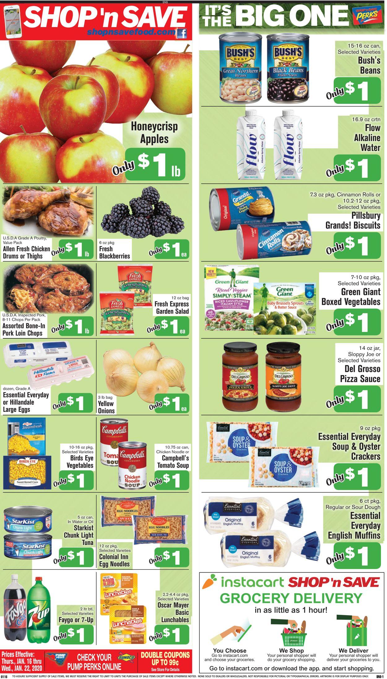 Shop 'n Save Weekly Ad Circular - valid 01/16-01/22/2020