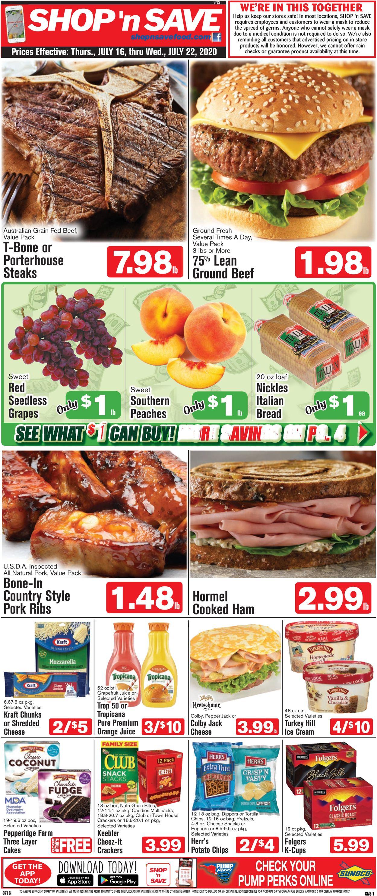 Shop 'n Save (Pittsburgh) Weekly Ad Circular - valid 07/16-07/22/2020