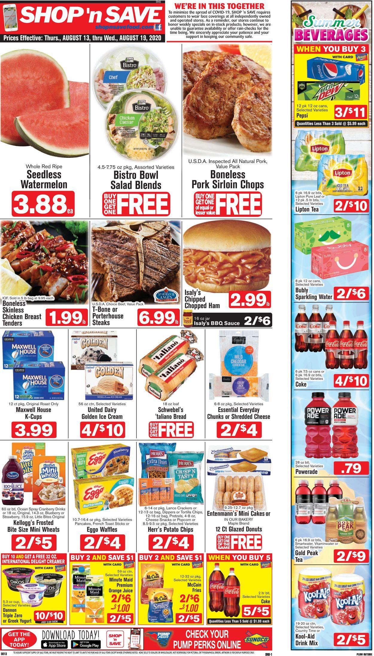 Shop 'n Save (Pittsburgh) Weekly Ad Circular - valid 08/13-08/19/2020