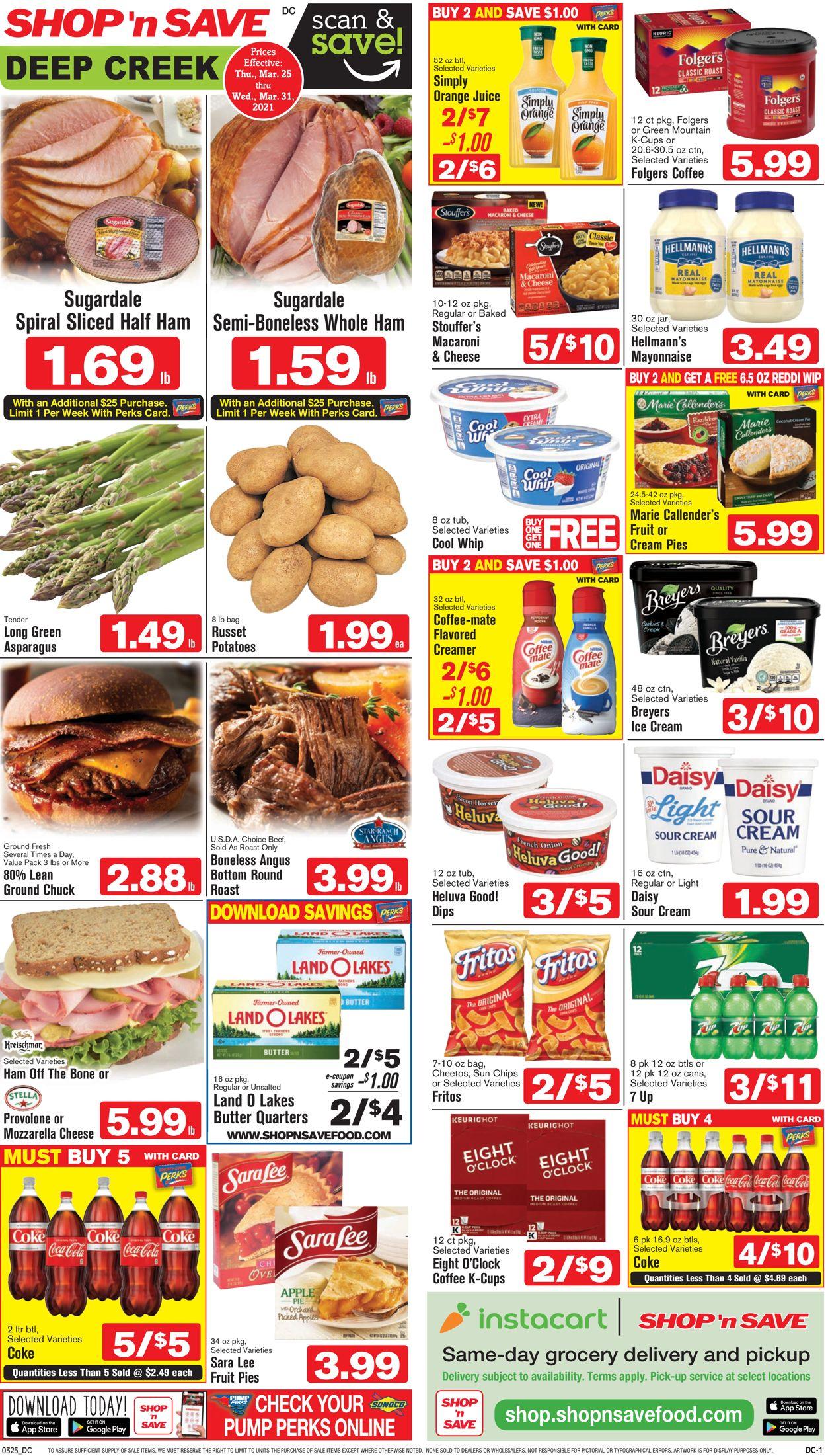 Shop 'n Save Weekly Ad Circular - valid 03/25-03/31/2021