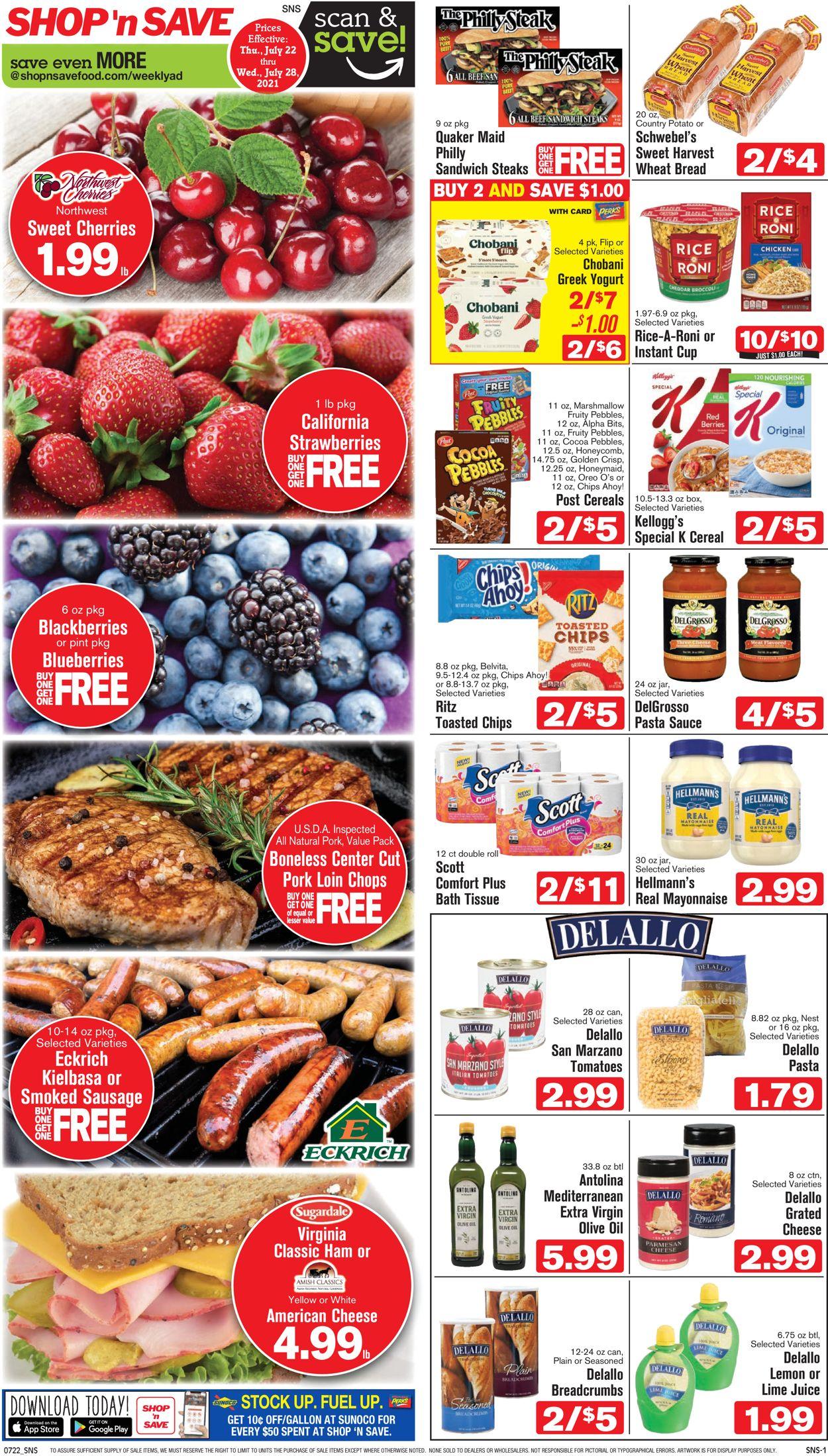 Shop 'n Save Weekly Ad Circular - valid 07/22-07/28/2021