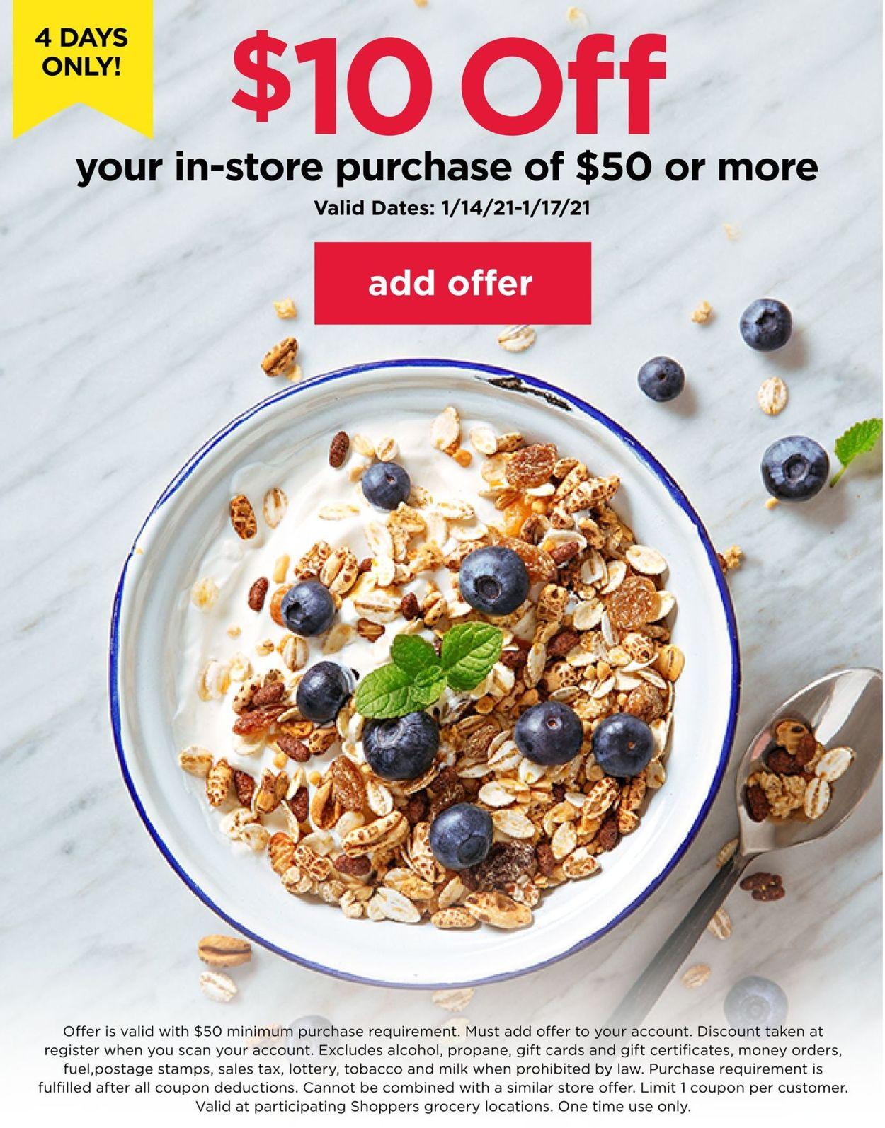 Shoppers Food & Pharmacy 10$ off 2021 Weekly Ad Circular - valid 01/14-01/17/2021