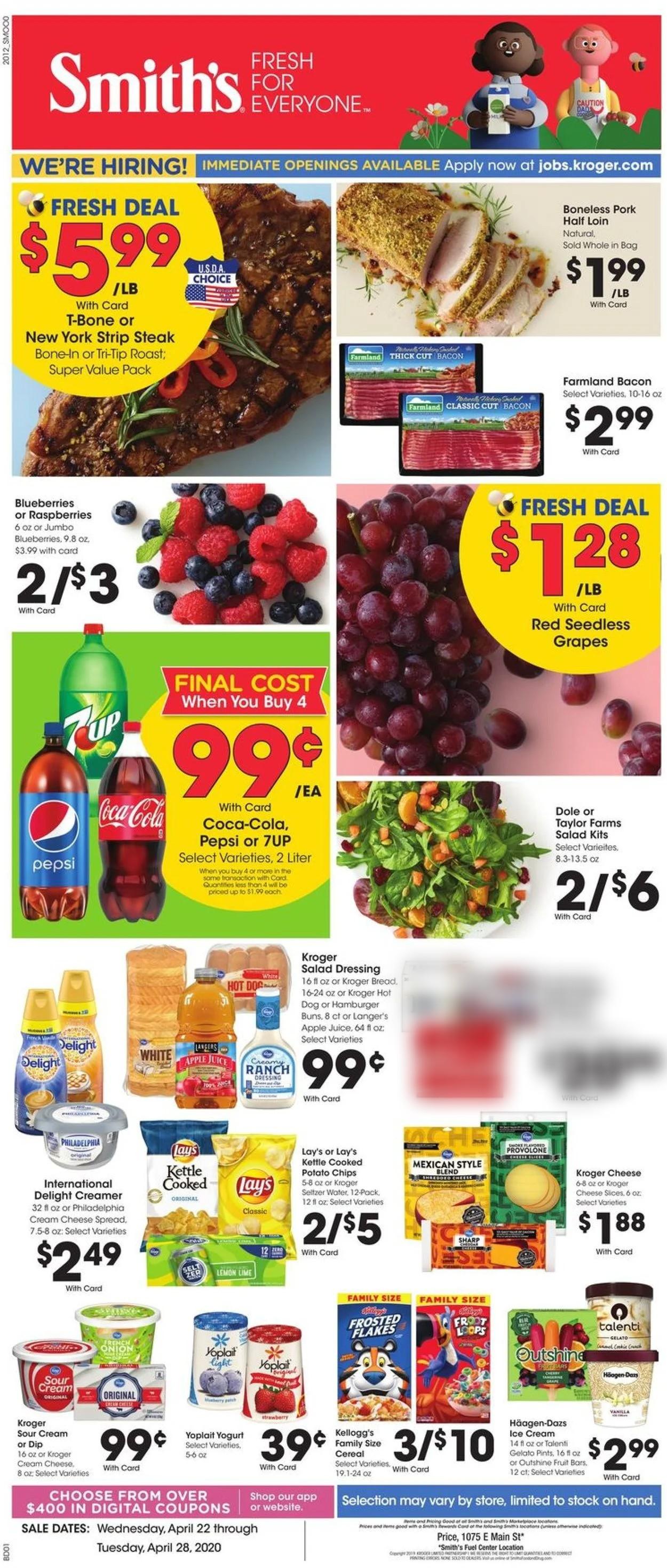 Smith's Weekly Ad Circular - valid 04/22-04/28/2020