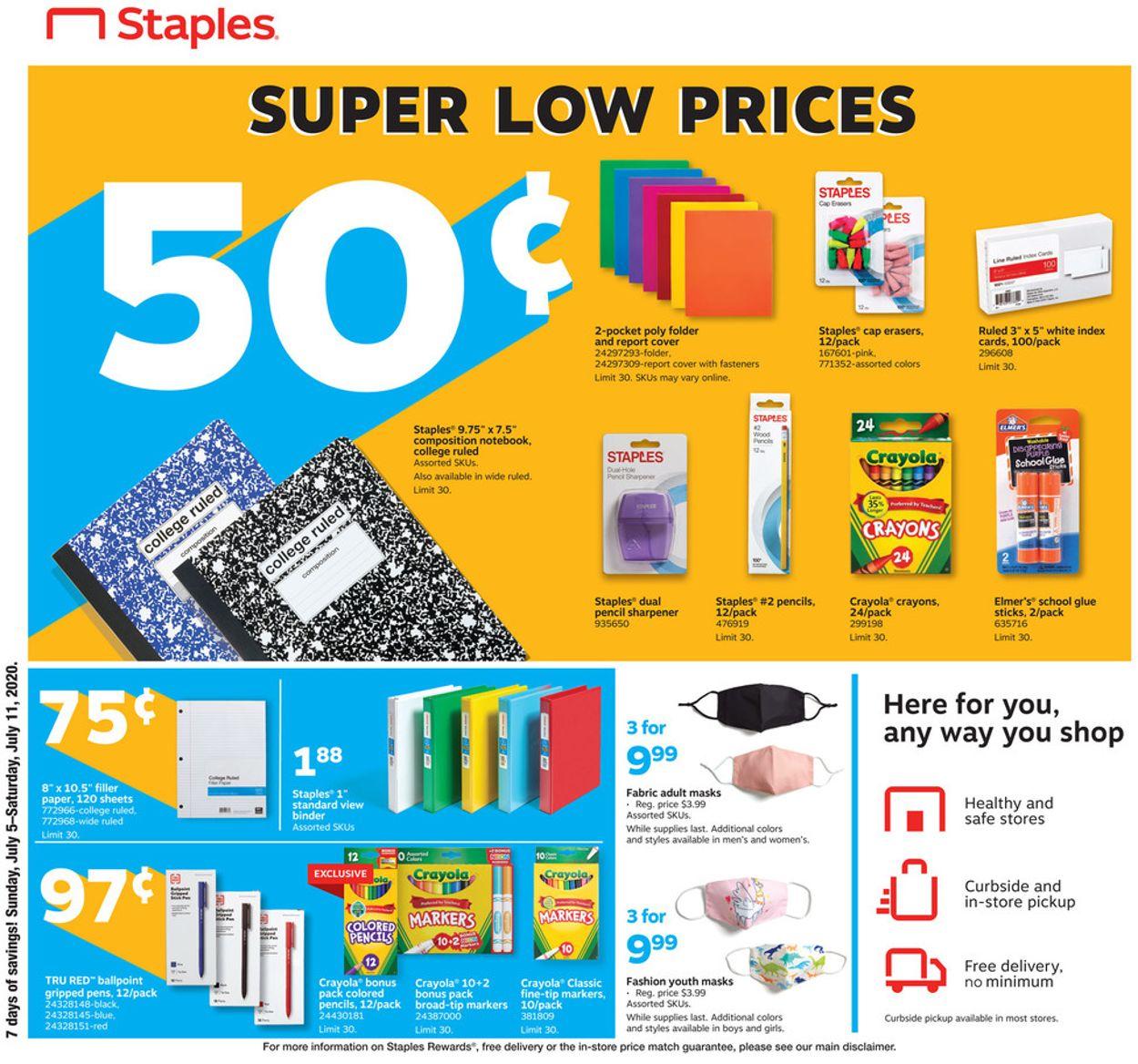 Staples Weekly Ad Circular - valid 07/05-07/11/2020