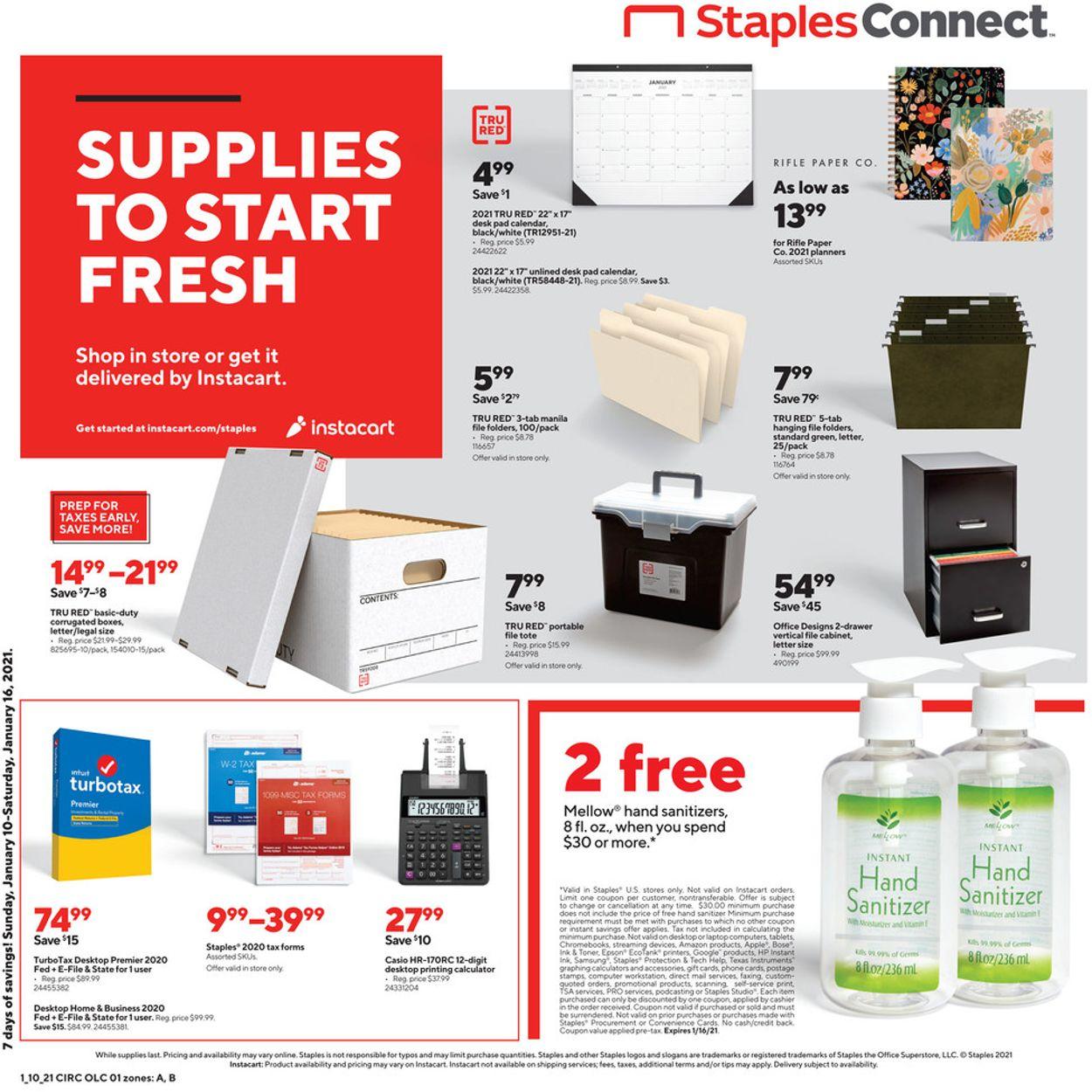 Staples Weekly Ad Circular - valid 01/10-01/16/2021