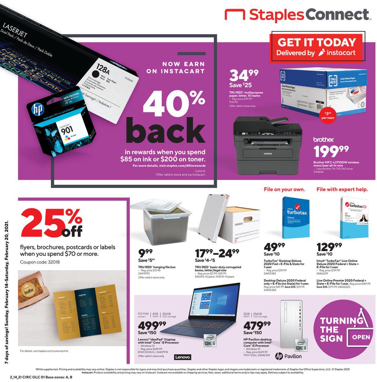 Staples Weekly Ad Circular - valid 02/14-02/20/2021