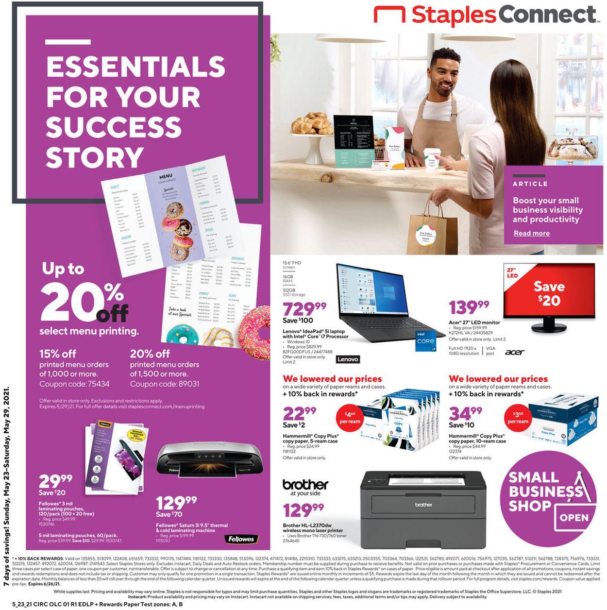 Staples Weekly Ad Circular - valid 05/23-05/29/2021