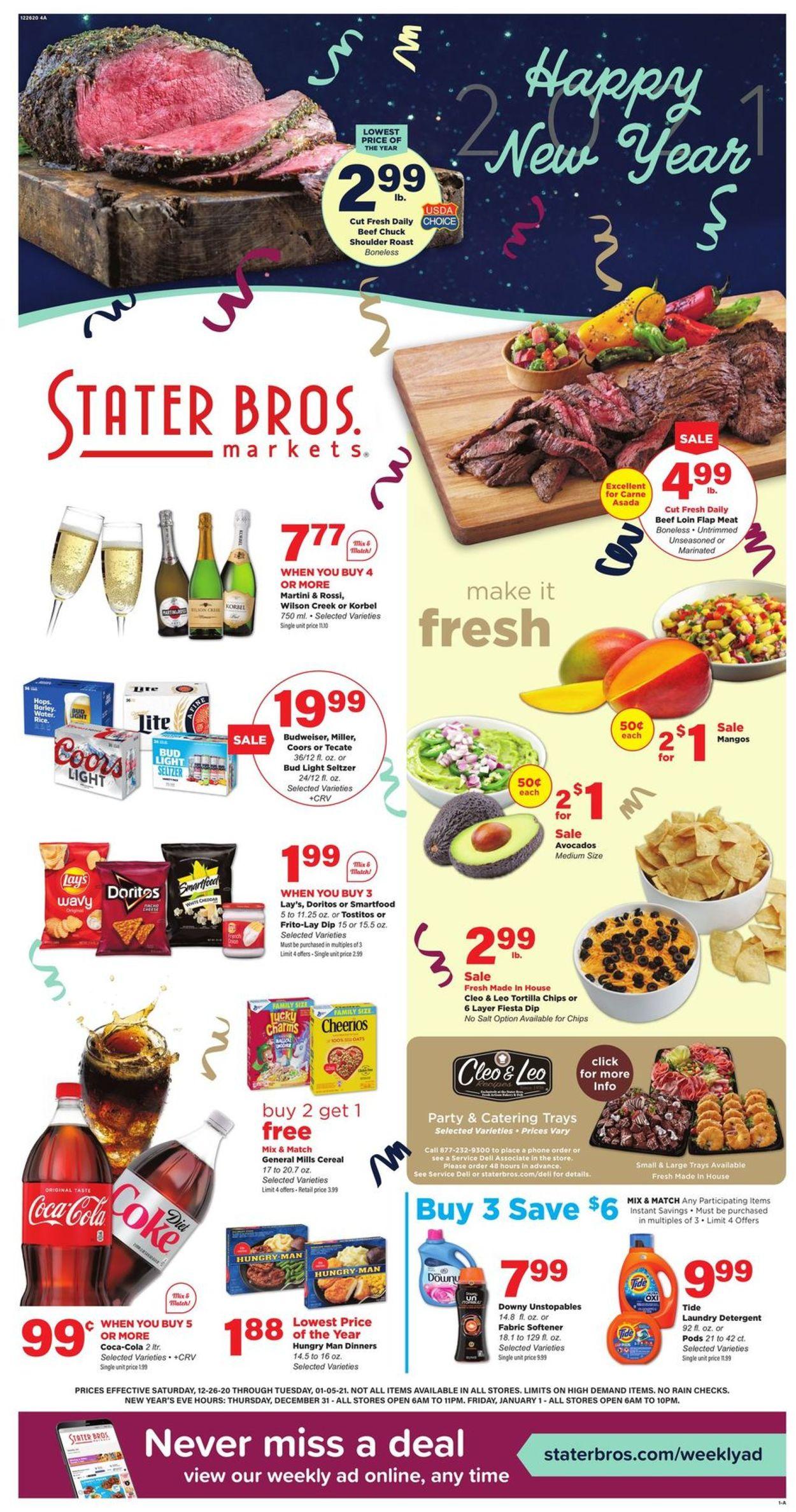 Stater Bros. Happy New Year 2021 Weekly Ad Circular - valid 12/26-01/05/2021
