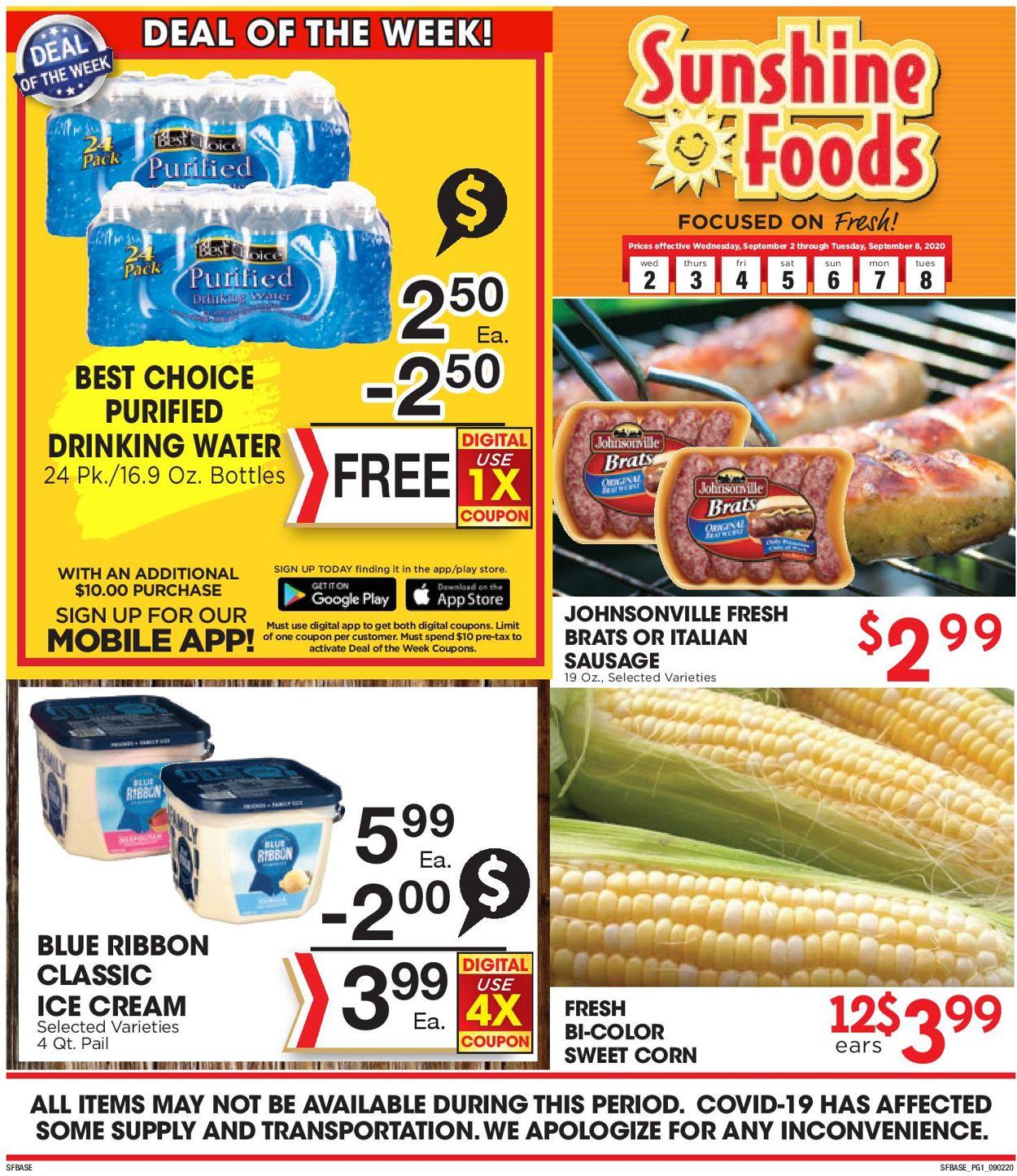 Sunshine Foods Weekly Ad Circular - valid 09/02-09/08/2020